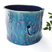 Load image into Gallery viewer, Color Burst Yarn Bowl - Turquoise/Teal with Lavender & Golden Brown Flecks - Handcrafted Ceramic Yarn Bowl