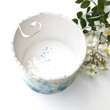 Load image into Gallery viewer, Color Burst Yarn Bowl - White with Turquoise Flecks - Handcrafted Ceramic Yarn Bowl