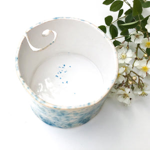 Color Burst Yarn Bowl - White with Turquoise Flecks - Handcrafted Ceramic Yarn Bowl