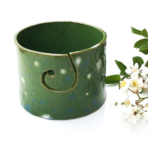 Color Burst Yarn Bowl - Green with White & Blue Flecks - Handcrafted Ceramic Yarn Bowl
