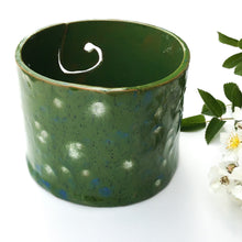 Load image into Gallery viewer, Color Burst Yarn Bowl - Green with White & Blue Flecks - Handcrafted Ceramic Yarn Bowl