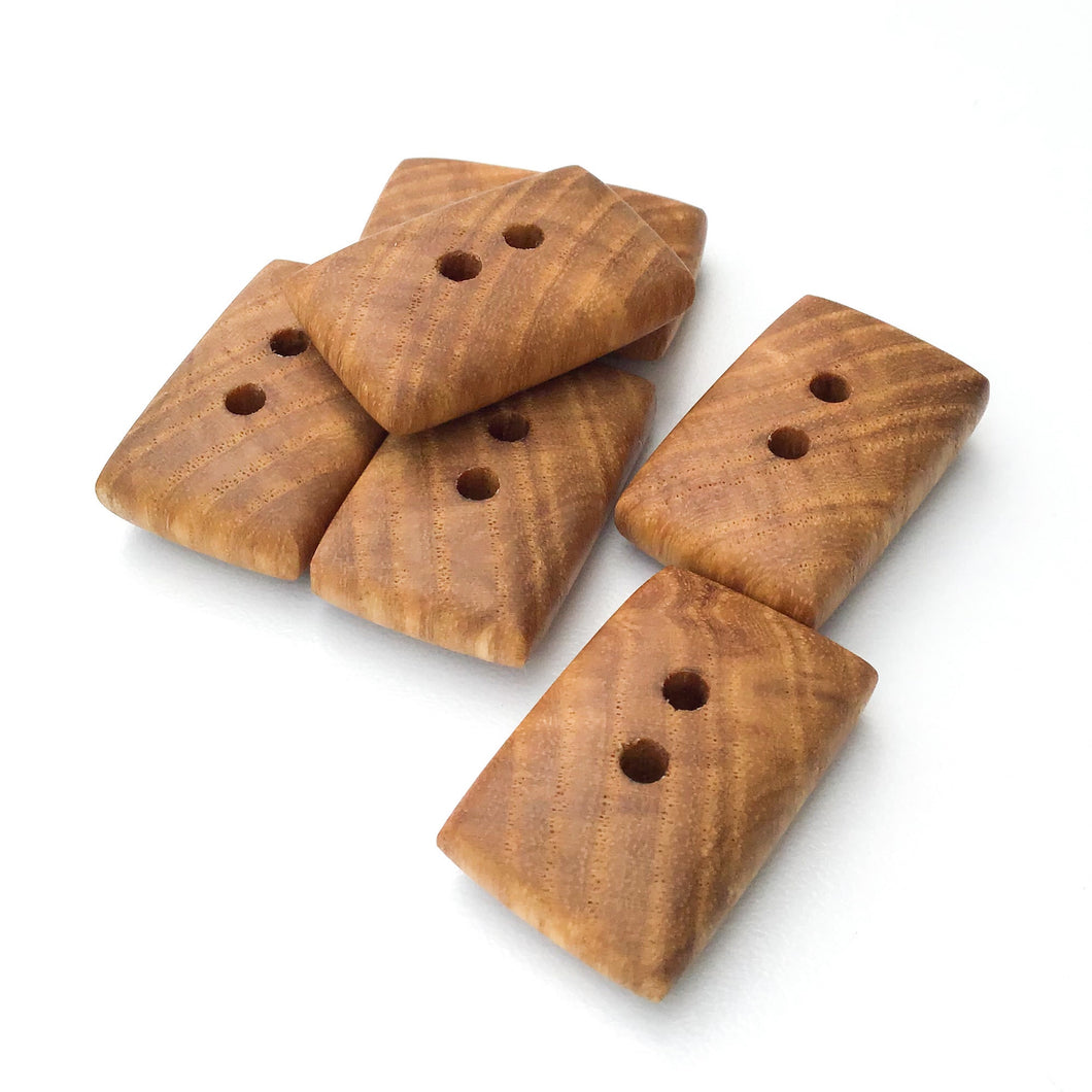 Ash Wood Buttons - Rounded Edge Rectangular Wood Buttons - 11/16