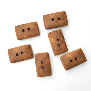 "Ash Wood Buttons - Rounded Edge Rectangular Wood Buttons - 11/16"" x 1 1/16"" - 6 Pack"