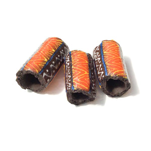 Black Clay Beads with Handpainted Detail - Red + Yellow + Blue Beads - Set of 3