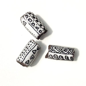 Black Clay Beads with Handpainted Detail - Black and White Beads - Set of 3