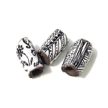 Load image into Gallery viewer, Black Clay Beads with Handpainted Detail - Black and White Beads - Set of 3