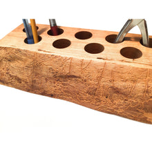 Load image into Gallery viewer, Live Edge Cherry Wood Desk Caddy - Wooden Desk Organizer