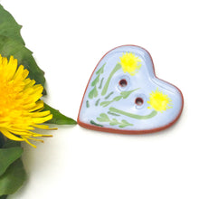 "Load image into Gallery viewer, ""A Weed is a Flower"" Heart Button - Blue Ceramic Heart Button with Dandelions  - 1 3/8"""