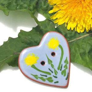 """A Weed is a Flower"" Heart Button - Blue Ceramic Heart Button with Dandelions  - 1 3/8"""