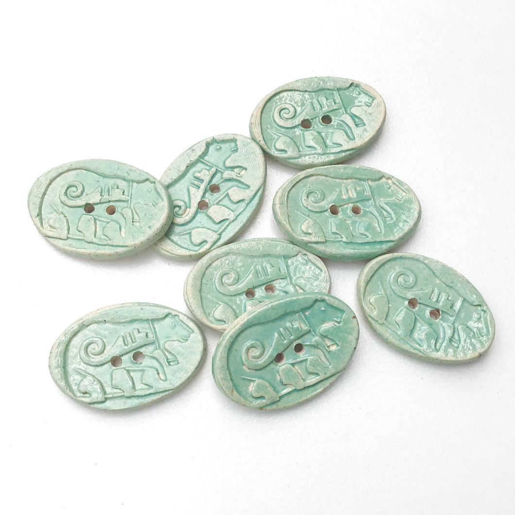 Southwestern Bear Buttons - Turquoise Blue Ceramic Buttons - 11/16