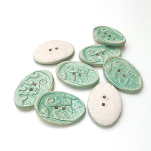 "Southwestern Bear Buttons - Turquoise Blue Ceramic Buttons - 11/16"" x 1"" - 8 Pack"