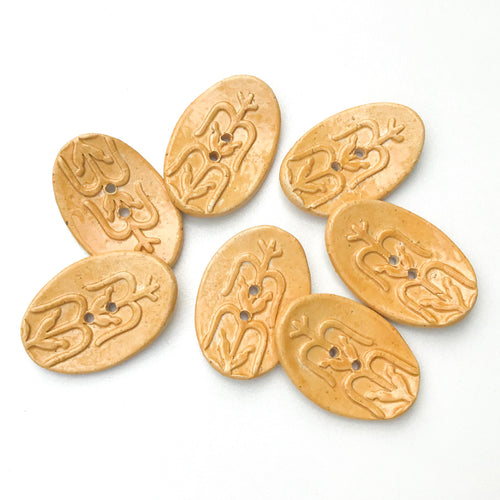Southwestern Corn Buttons - Orange-Brown Ceramic Buttons - 3/4