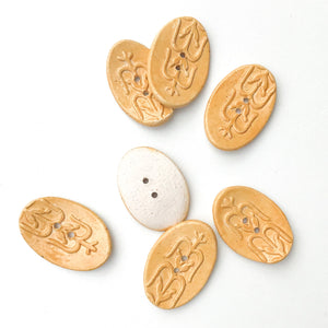 "Southwestern Corn Buttons - Orange-Brown Ceramic Buttons - 3/4"" x 1 1/8"" - 7 Pack"
