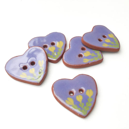Ceramic Heart Button - Purple Heart Button with Yellow Flowers - 1 1/8