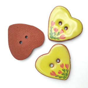 Ceramic Heart Button - Chartreuse Heart Button with Pink Flowers - 1 1/8""