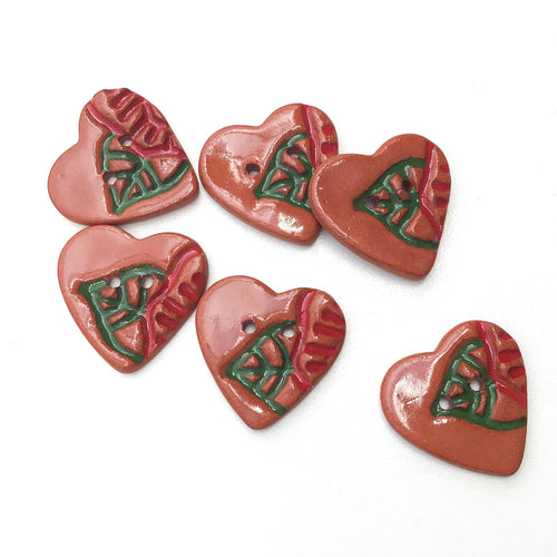 Heart & Flower Buttons - Decorative Red Clay Buttons - 7/8