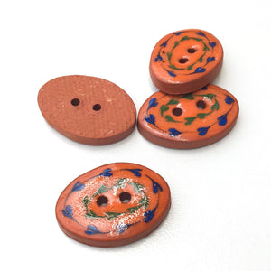 "Orange Ceramic Buttons - Decorative Oval Clay Buttons - 5/8"" x 7/8"" - 4 Pack"
