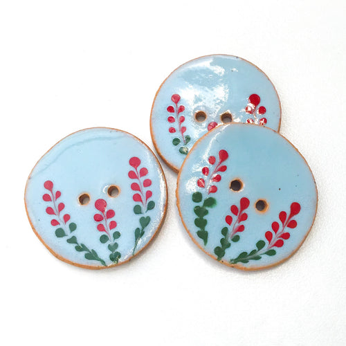 Blue Ceramic Button with Red Flowers - Decorative Clay Button - 1 1/16