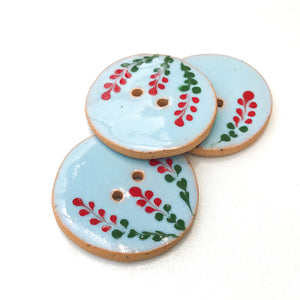 Blue Ceramic Button with Red Flowers - Decorative Clay Button - 1 1/16""
