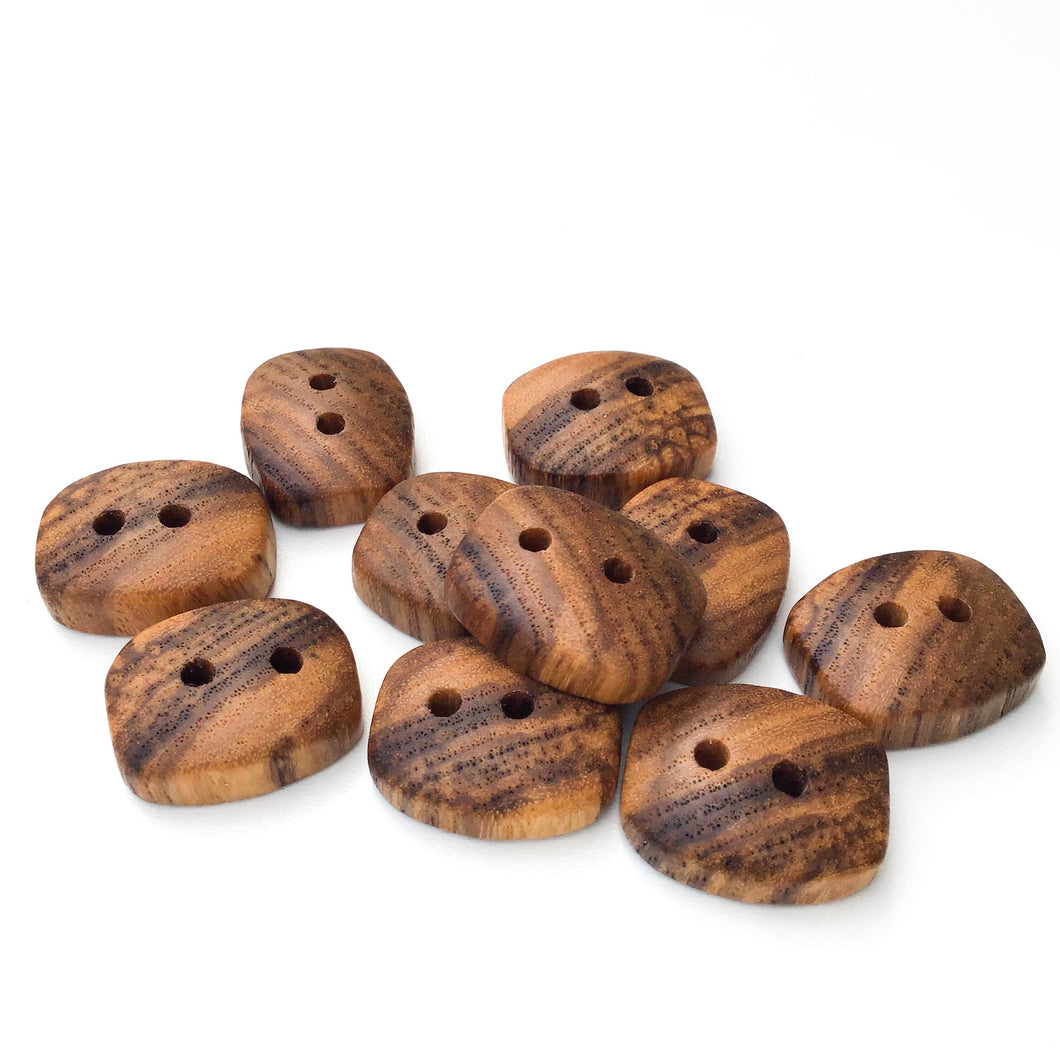 Ash Wood Buttons - Rectangular Wood Buttons - 3/4