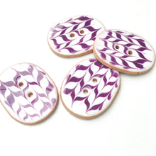 "Load image into Gallery viewer, White & Purple Ceramic Buttons - Oval Clay Buttons - 1"" x 1 1/4"""