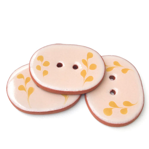 Beige  & Golden Brown Ceramic Buttons - Oval Clay Buttons - 1