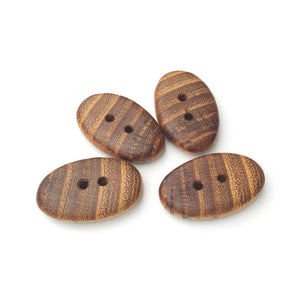 "Black Locust Wood Buttons - Wooden Toggle Buttons - 3/4"" X 1 3/16"" - 4 Pack"