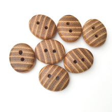 "Load image into Gallery viewer, Black Locust Wood Buttons - Oval Wood Buttons -  11/16"" x 1"" x 5/16"" thick"