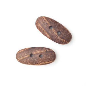 "Black Locust Wood Buttons - Wooden Toggle Buttons - 11/16"" X 1 7/16"" - 2 Pack"