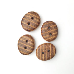 "Black Locust Wood Buttons - Oval Wood Buttons - 13/16"" x 1"" x 5/16"" thick - 4 Pack"