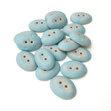 "Load image into Gallery viewer, Robin's Egge Blue Oval Clay Buttons - Matte Glazed - 11/16"" x 15/16"""