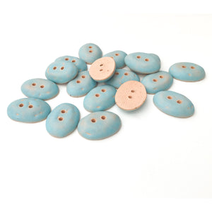 "Robin's Egge Blue Oval Clay Buttons - Matte Glazed - 11/16"" x 15/16"""