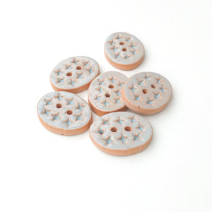 "Textured Light Blue Oval Clay Buttons - 5/8"" x 7/8"" - 6 Pack"