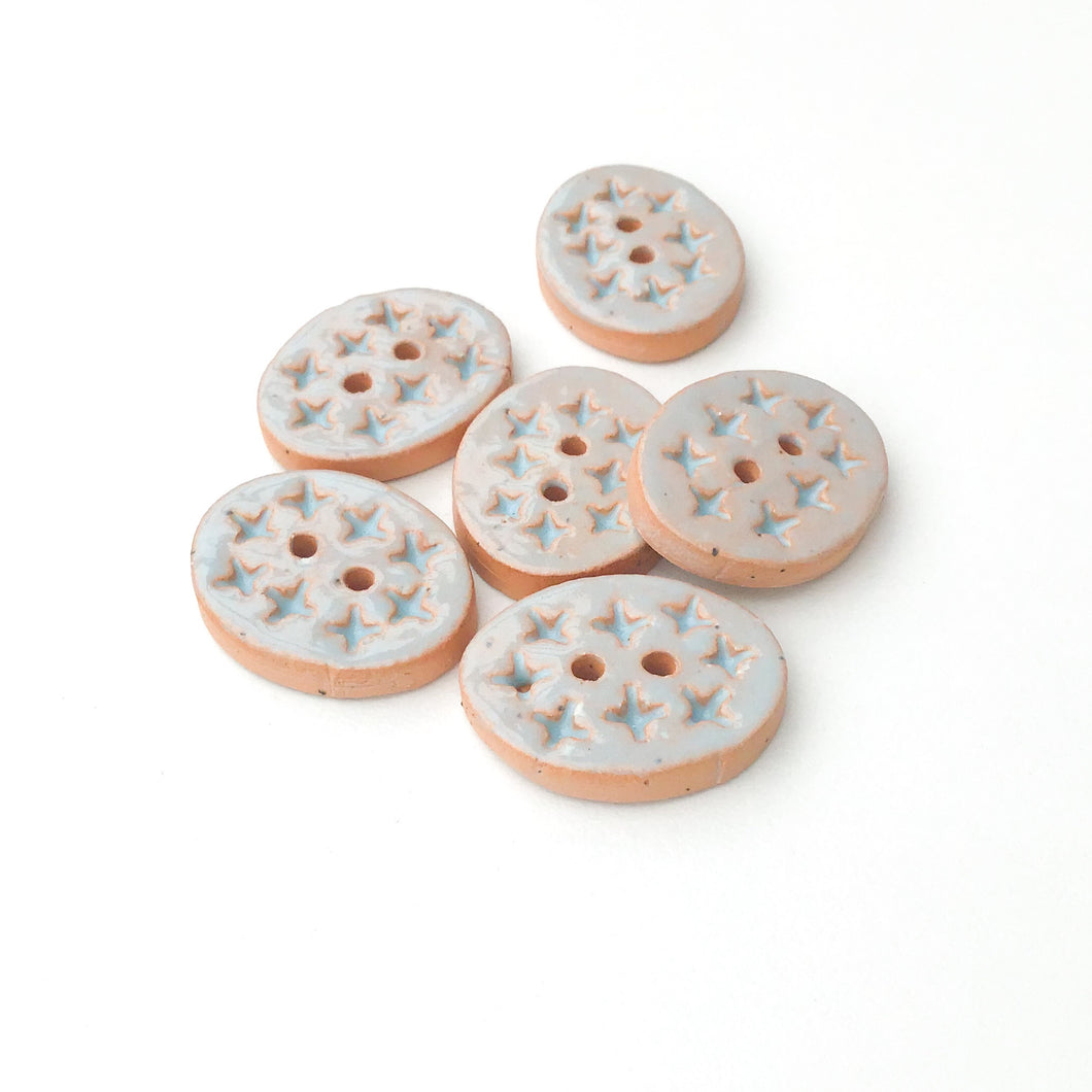 Textured Light Blue Oval Clay Buttons - 5/8