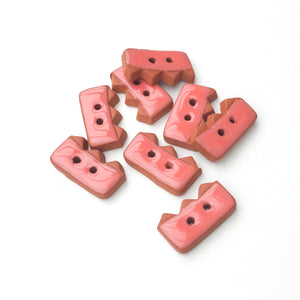 "Salmon Colored Buttons on Red Clay - Ceramic Buttons - 3/8"" x 3/4"" - 8 Pack"