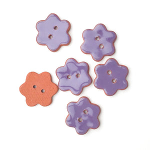 "Purple Ceramic Flower Buttons - Purple Clay Buttons - 7/8"" - 6 Pack"