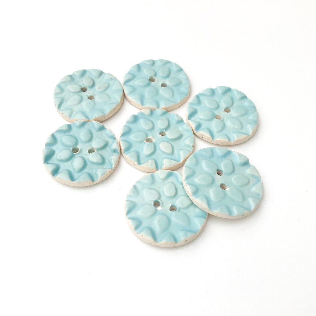 Ceramic Snowflake Buttons - Robin's Egg Blue Pottery Buttons - 3/4