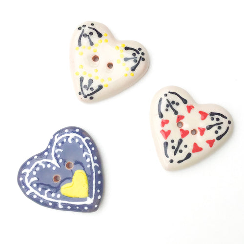 Decorative Ceramic Heart Buttons - Pottery Heart Buttons - 1 1/4