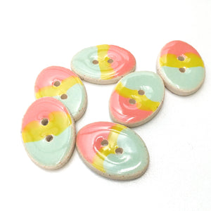 "Oval Ceramic Buttons - Pastel Colored Clay Buttons - 5/8"" x 7/8"" - 6 Pack"