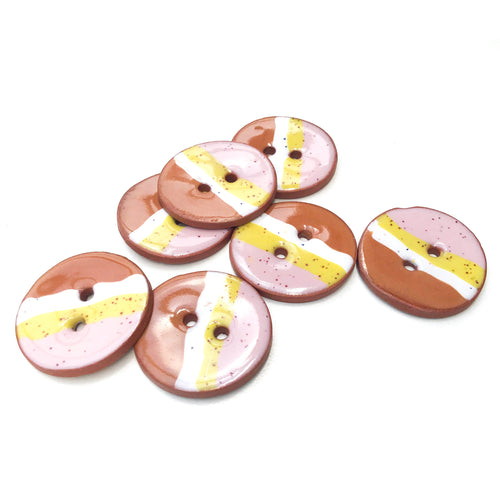 Muticolored Ceramic Button with Diagonal Striping - Decorative Clay Button - 1 1/16