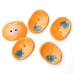 "Decorative Ceramic Button with Shimmery Color Drips - Orange - Blue - Oval Clay Button - 1"" x 1 1/4"""