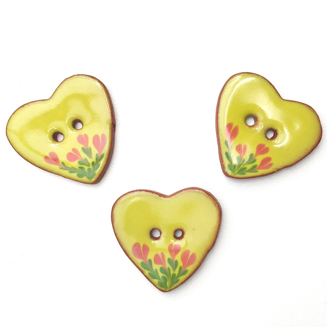 Ceramic Heart Button - Chartreuse Heart Button with Pink Flowers - 1 1/8