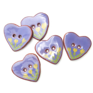 Ceramic Heart Button - Purple Heart Button with Yellow Flowers - 1 1/8""