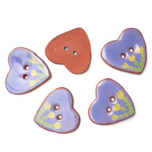 Load image into Gallery viewer, Ceramic Heart Button - Purple Heart Button with Yellow Flowers - 1 1/8""