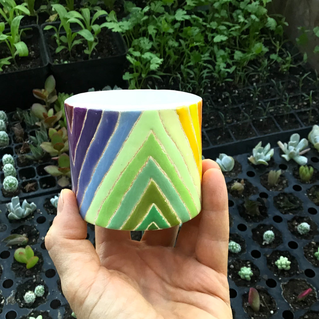 Reserved Listing for Sarah* Quilted Rainbow Succulent Pot