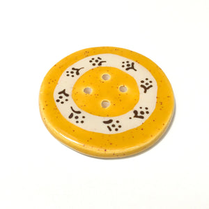 Jumbo Floral Wreath Button - Speckled Mustard - 2""