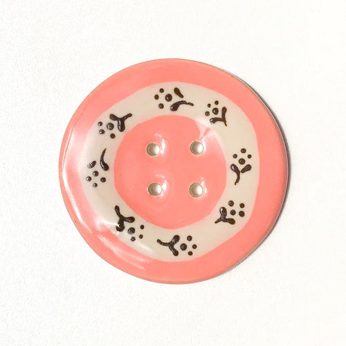 Jumbo Floral Wreath Button - Salmon Pink - 2