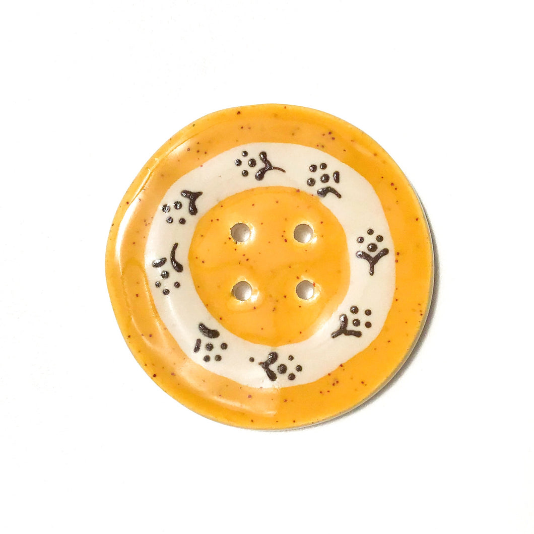 Jumbo Floral Wreath Button - Speckled Mustard - 2