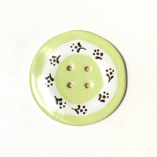 Jumbo Floral Wreath Button - Light Lime Green - 2