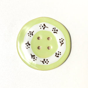 Jumbo Floral Wreath Button - Light Lime Green - 2""
